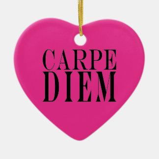 Carpe Diem Seize the Day Latin Quote Happiness Ceramic Ornament