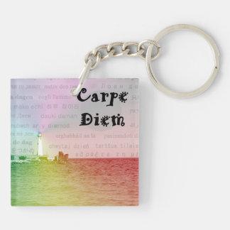 Carpe Diem Square Keychain