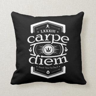 Carpe Diem - Square Throw Pillow - Black