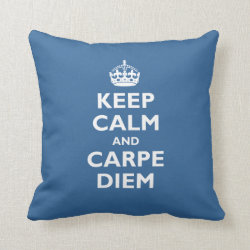 Cotton Throw Pillow with Keep Calm and Carpe Diem design