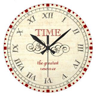 Carpe Diem Time is the greatest resource steampunk Large Clock