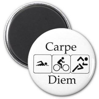 Carpe Diem Triathilon 2 Inch Round Magnet