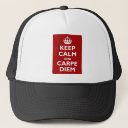 Trucker Hat with Keep Calm and Carpe Diem design