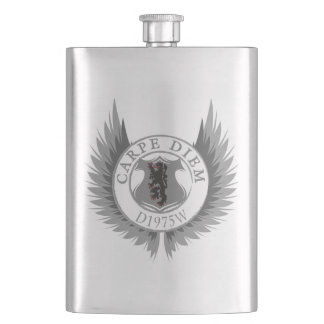 Carpe Diem,wings, shield and lion Hip Flask