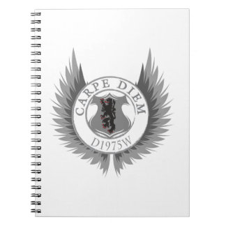 Carpe Diem with Crest, Wings & Lyon Spiral Notebook