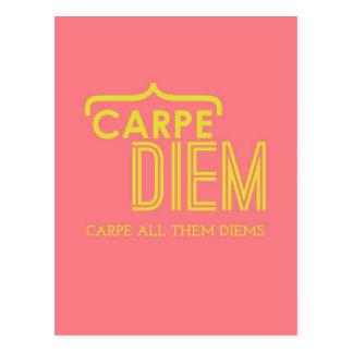 Carpe Diem Yellow & Pink Fun Humour Encouragement Postcard