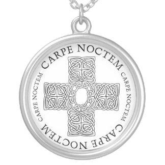 Carpe Noctem Celtic cross Round Pendant Necklace