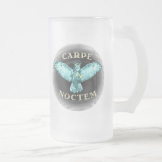 Carpe Noctem Frosted Glass Beer Mug