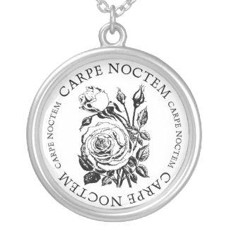 Carpe Noctem Rose Round Pendant Necklace