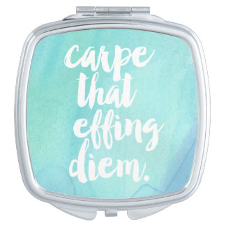 Carpe That Effing Diem | Aqua Vanity Mirror