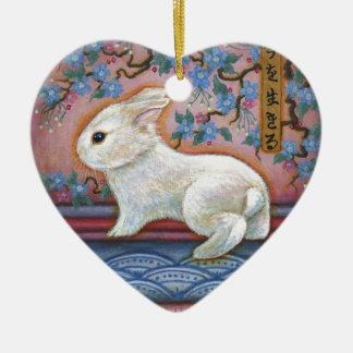 CarpeDiem White Rabbit Asian Design Ceramic Ornament