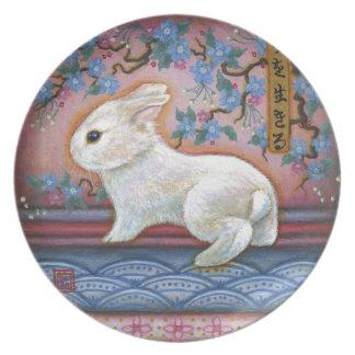 CarpeDiem White Rabbit Asian Design Dinner Plate