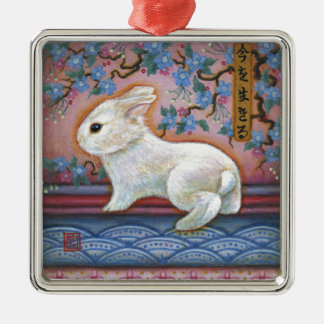 CarpeDiem White Rabbit Asian Design Metal Ornament