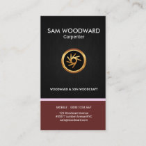 Carpenter Black Grain Stylish Faux Gold Saw Icon Business Card