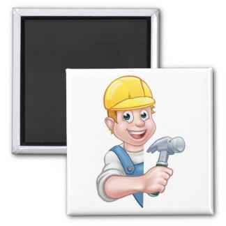 Carpenter Builder Cartoon Character Magnet