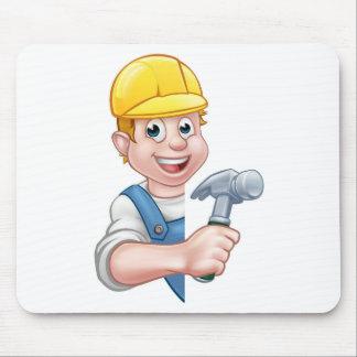 Carpenter Builder Cartoon Character Mouse Pad