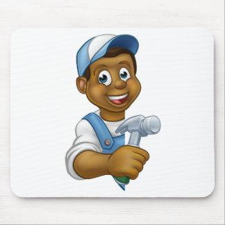Carpenter Builder Cartoon Mouse Pad