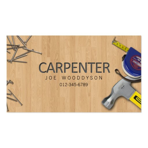 Carpenter Business Card Hammer Measure Tape Nails