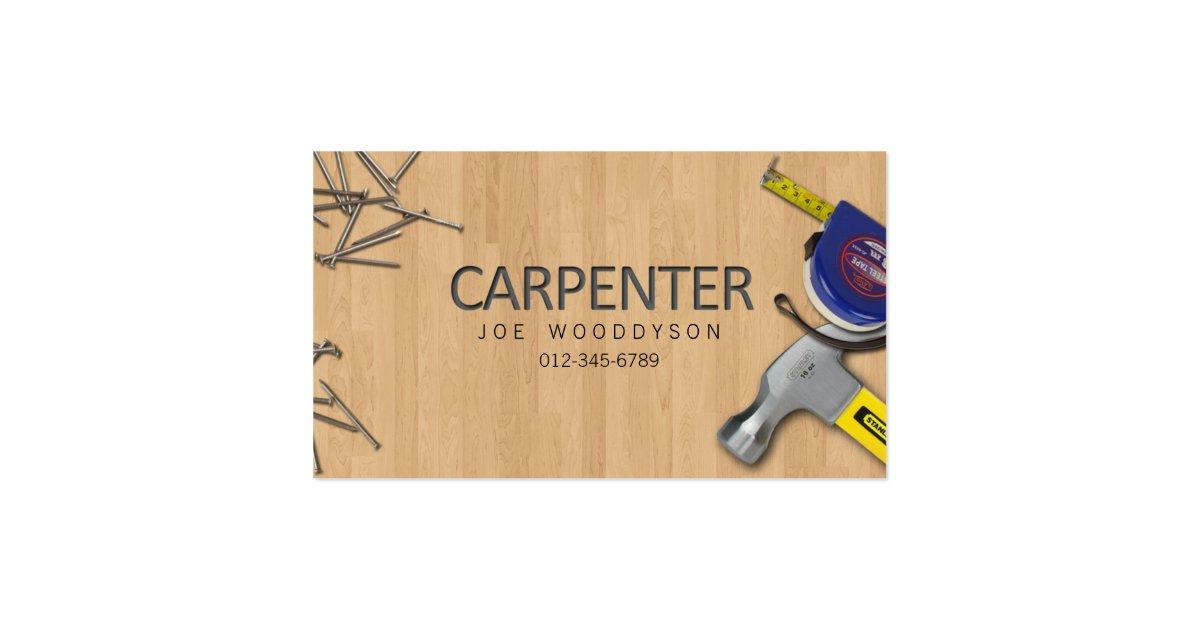 Carpenter Business Card Hammer Measure Tape Nails Zazzle