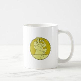 Carpenter Carver Chisel Circle Mono Line Coffee Mug
