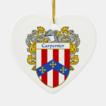 Carpenter Coat of Arms/Family Crest Double-Sided Heart Ceramic Christmas Ornament