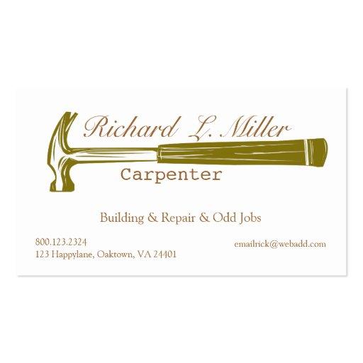 Carpenter Construction Business Card Templates