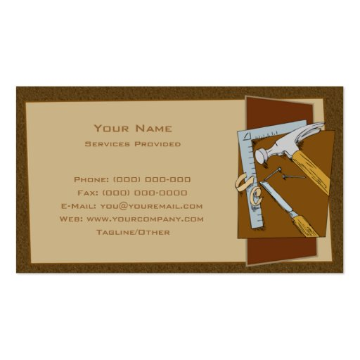 Carpenter Double Sided Standard Business Cards Pack