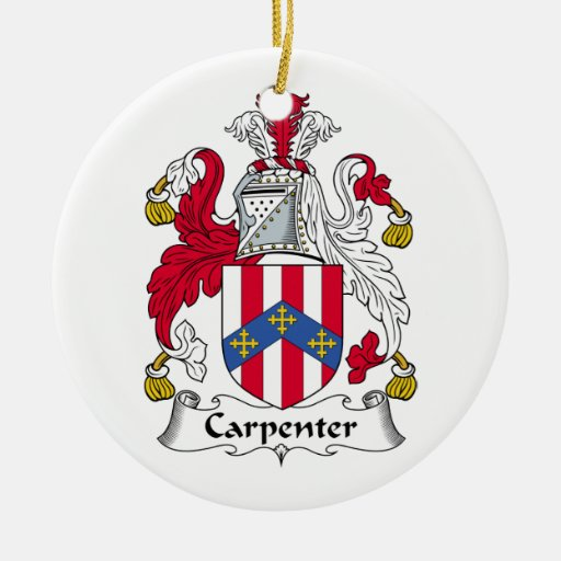 Carpenter Family Crest Double-Sided Ceramic Round Christmas Ornament