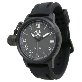 Carpenter | Handyman Custom Initials Roman Numeral Wristwatch