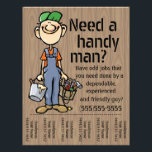 """Carpenter Handyman Plumber Painter Earn Money Flyer<br><div class=""""desc"""">Super unique and eye catching flyer to help you find work as a handy man, carpenter, framer, deck builder, fix-it guy. This friendly, simple drawing of a happy worker with a big smile and hands full of paint and tools is sure to catch peoples&#39; eyes and charm them into calling...</div>"""