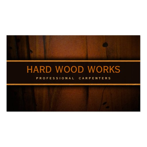 Carpenter Hardwood Wood Wooden Business Cards