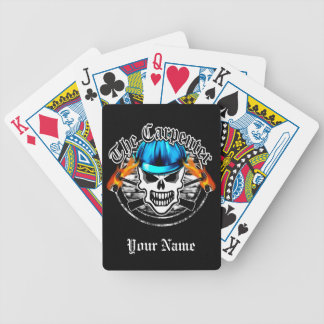 Carpenter Skull and Blue Hard Hat Bicycle Playing Cards