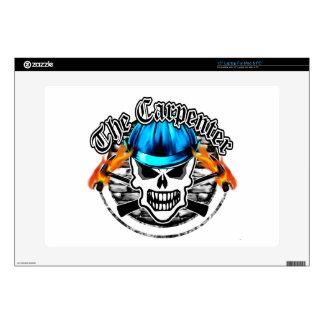 Carpenter Skull and Blue Hard Hat Decals For Laptops