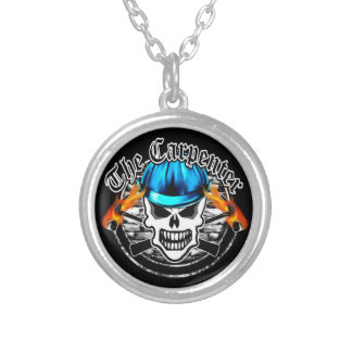 Carpenter Skull and Blue Hard Hat Silver Plated Necklace