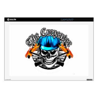 "Carpenter Skull and Blue Hard Hat Skin For 17"" Laptop"