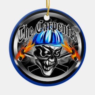 Carpenter Skull with Blue Hard Hat Ceramic Ornament