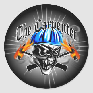 Carpenter Skull with Blue Hard Hat Classic Round Sticker