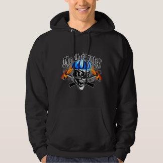 Carpenter Skull with Blue Hard Hat Hoodie
