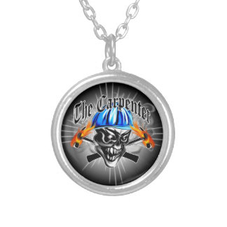 Carpenter Skull with Blue Hard Hat Silver Plated Necklace