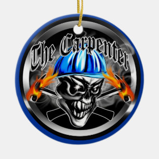 Carpenter Skull with Hard Hat: The Carpenter Christmas Ornaments