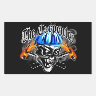 Carpenter Skull with Hard Hat: The Carpenter Rectangular Sticker