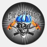 Carpenter Skull with Hard Hat: The Carpenter Classic Round Sticker