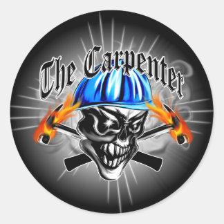 Carpenter Skull with Hard Hat: The Carpenter Round Stickers