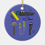Carpenter Tools Whimsical Cartoon Art Double-Sided Ceramic Round Christmas Ornament