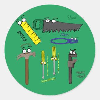 Carpenter Tools Whimsical Cartoon Art Stickers