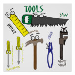 Carpenter Tools with Eyes Cartoon Art Posters