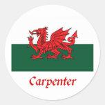 Carpenter Welsh Flag Stickers