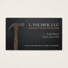 Carpenter Wood Hammer Logo Carpentry Business Card at Zazzle