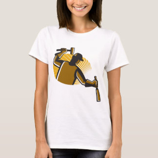 carpenter worker with hammer and chisel T-Shirt