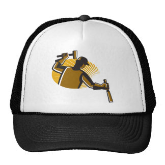 carpenter worker with hammer and chisel trucker hat
